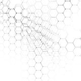Chemistry 3D pattern, hexagonal molecule structure on white, scientific medical research. Medicine, science and Stock Photography