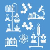Chemistry decorative icons set Stock Image