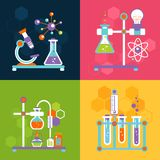 Chemistry design concepts. Chemistry decorative flat icons set with lab test and research equipment isolated vector illustration Stock Photos
