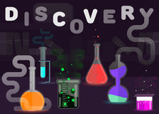 Chemistry is a discovery flat style vector illustration.  Stock Photography