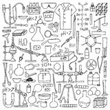 Chemistry doodle set. Chemistry doodle hand drawn set. Science elements and objects Stock Image