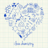 Chemistry drawings in heart shape Stock Photography