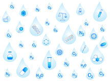 Chemistry on drops. Illustration of chemistry elements on drops Royalty Free Stock Image