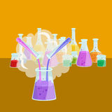 Chemistry education research laboratory equipment, science lab glass tube, vector Royalty Free Stock Photo