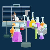 Chemistry education research laboratory equipment, science lab glass tube, vector Stock Photos