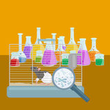 Chemistry education research laboratory equipment, science lab glass tube, vector Stock Images