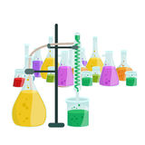 Chemistry education research laboratory equipment, science lab glass tube, vector Royalty Free Stock Photos