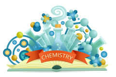 Chemistry emblem. Opened science book concept Royalty Free Stock Photos