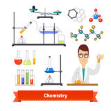 Chemistry equipment and chemist colourful set Royalty Free Stock Image