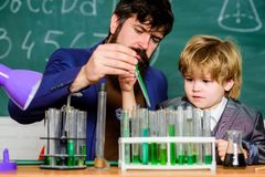 Chemistry experiment. Cognitive process. Kids cognitive development. Mental process acquiring knowledge understanding. Through experience. Back to school stock photo