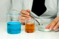 Chemistry experiment stock photos
