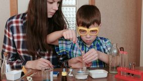 Chemistry experiments at home. Mom and son make a chemical reaction with the release of gas in the test tube. Chemistry experiments at home. Mom and son make a stock video footage