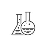 Chemistry flask line icon, lab outline vector logo, linear picto. Gram isolated on white, pixel perfect illustration Stock Photos