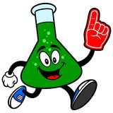Chemistry Flask Running with a Foam Finger Stock Photos
