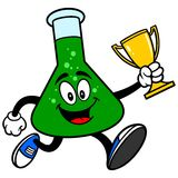 Chemistry Flask Running with a Trophy Stock Photo