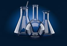 Chemistry flasks on blue background Stock Image