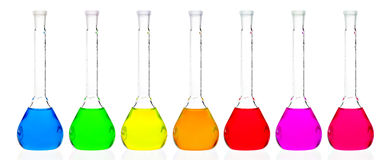 Chemistry flasks on a white background Royalty Free Stock Photo