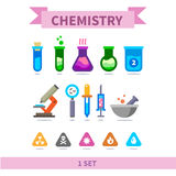 Chemistry flat color icon set Royalty Free Stock Photo