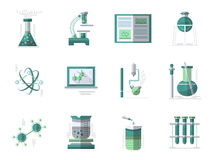 Chemistry flat color icons set Royalty Free Stock Photography