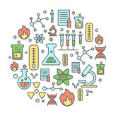 Chemistry flat concept with lab research equipment and scientist Round colorful background. Vector illustration Royalty Free Stock Image