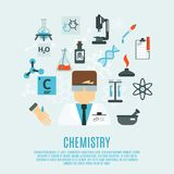 Chemistry Flat Icon Set. Chemistry science concept with researcher and laboratory flat icons set vector illustration Stock Images
