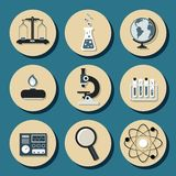 Chemistry flat icons Stock Photos