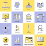 Chemistry Flat Line Icons Stock Photo