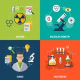 Chemistry Flat Set. Chemistry design concept set with radiation science investigation flat icons isolated vector illustration Royalty Free Stock Images