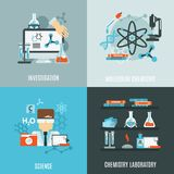 Chemistry Flat Set. Chemistry science design concept with investigation laboratory flat icons isolated vector illustration Stock Image