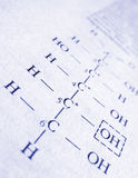 Chemistry formula. Formula closeup on a chemistry book royalty free stock photos