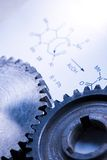 Chemistry formula with cogwheels Stock Photo
