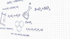 Chemistry formulas on white background graphic animation