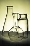 Chemistry Glassware. Chemistry Flasks and Glassware on a Table Stock Photo