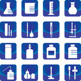 Chemistry glassware and tools vector. Such as flask, buret, dropper, test tube Royalty Free Stock Photos