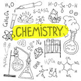 Chemistry hand drawn background. Set of science doodles. Back to school illustration. Stock Photos