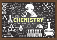 Chemistry hand drawn on chalkboard template Stock Photography