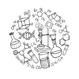 Chemistry hand drawn doodles background Stock Image