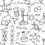 Chemistry hand drawn doodles seamless background Stock Photo