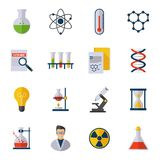 Chemistry Icon Flat. Set with scientist atom molecule dna isolated vector illustration Royalty Free Stock Photography