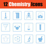 Chemistry icon set. Blue frame design. Vector illustration Stock Photo