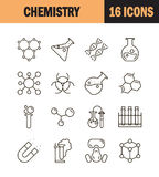 Chemistry icon set. Collection of science silhouette icons. 16 high quality logo of laboratory on white background. Pack of symbols for design website, mobile Stock Photo
