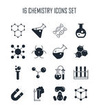 Chemistry icon set. Collection of science silhouette icons. 16 high quality logo of laboratory on white background. Pack of symbols for design website, mobile Royalty Free Stock Images