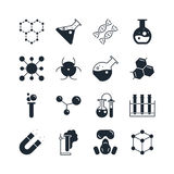 Chemistry icon set. Collection of science silhouette icons. 16 high quality logo of laboratory on white background. Pack of symbols for design website, mobile Royalty Free Stock Photography