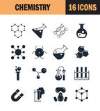 Chemistry icon set. Collection of science silhouette icons. 16 high quality logo of laboratory on white background. Pack of symbols for design website, mobile Stock Photography