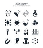 Chemistry icon set. Collection of science silhouette icons. 16 high quality logo of laboratory on white background. Pack of symbols for design website, mobile Stock Photos