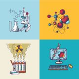 Chemistry icon sketch composition Stock Images
