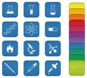 Chemistry Icons. A set of chemistry icons with blue background, but can be changed to any color Stock Image