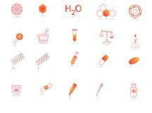 Chemistry icons. Illustration of chemistry icon, red, orange Royalty Free Stock Photos