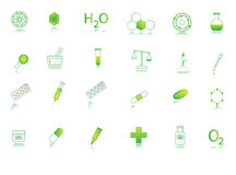 Chemistry icons. Illustration of chemistry icon, green Stock Photos