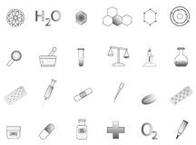 Chemistry icons. Illustration of chemistry icon, black, white Royalty Free Stock Photography
